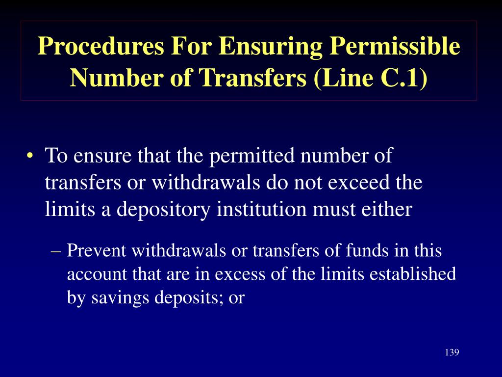 Procedures For Ensuring Permissible Number of Transfers (Line C.1)