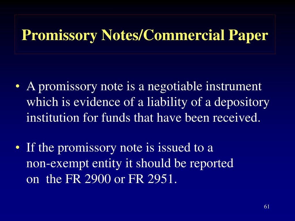 Promissory Notes/Commercial Paper