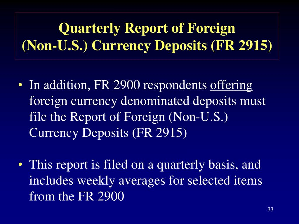 Quarterly Report of Foreign