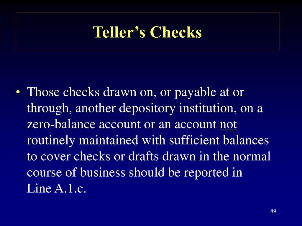 Teller's Checks