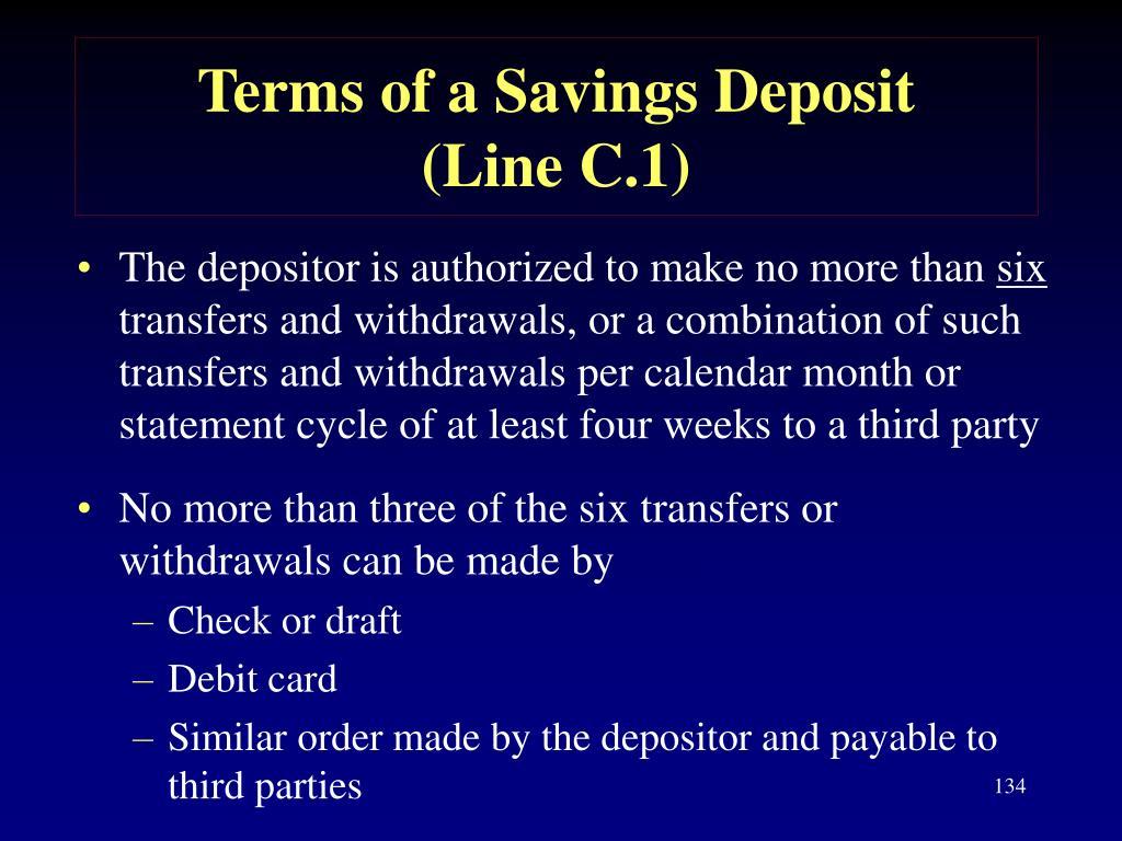 Terms of a Savings Deposit