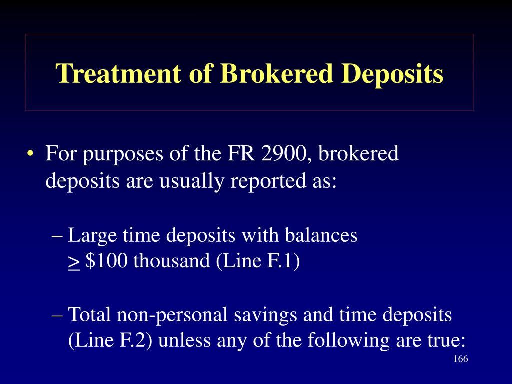 Treatment of Brokered Deposits