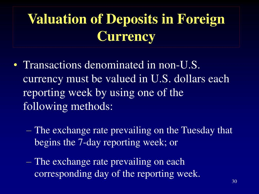 Valuation of Deposits in Foreign