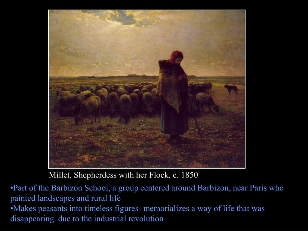 Millet, Shepherdess with her Flock, c. 1850