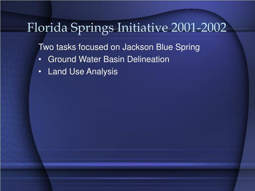 Florida Springs Initiative 2001-2002