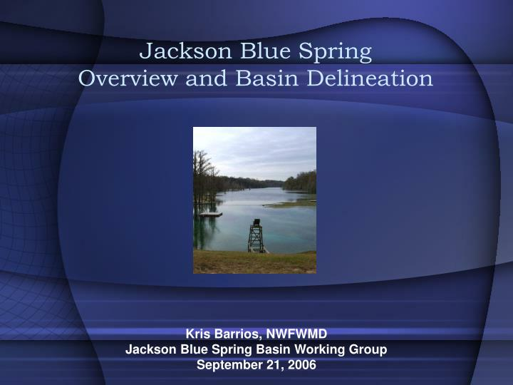 Jackson blue spring overview and basin delineation