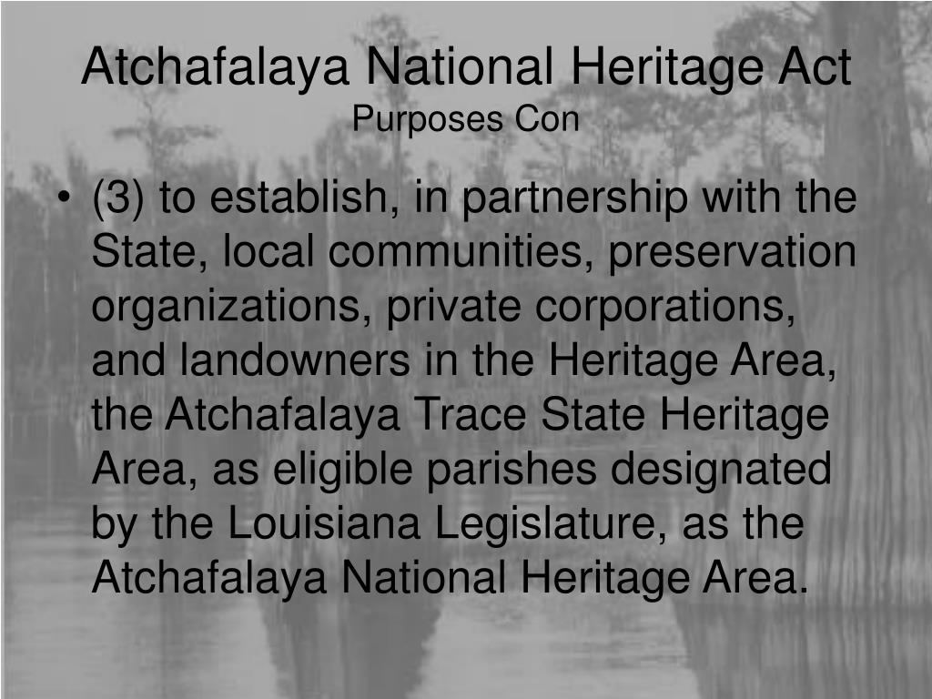 Atchafalaya National Heritage Act