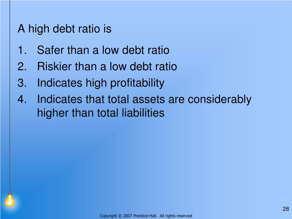 A high debt ratio is