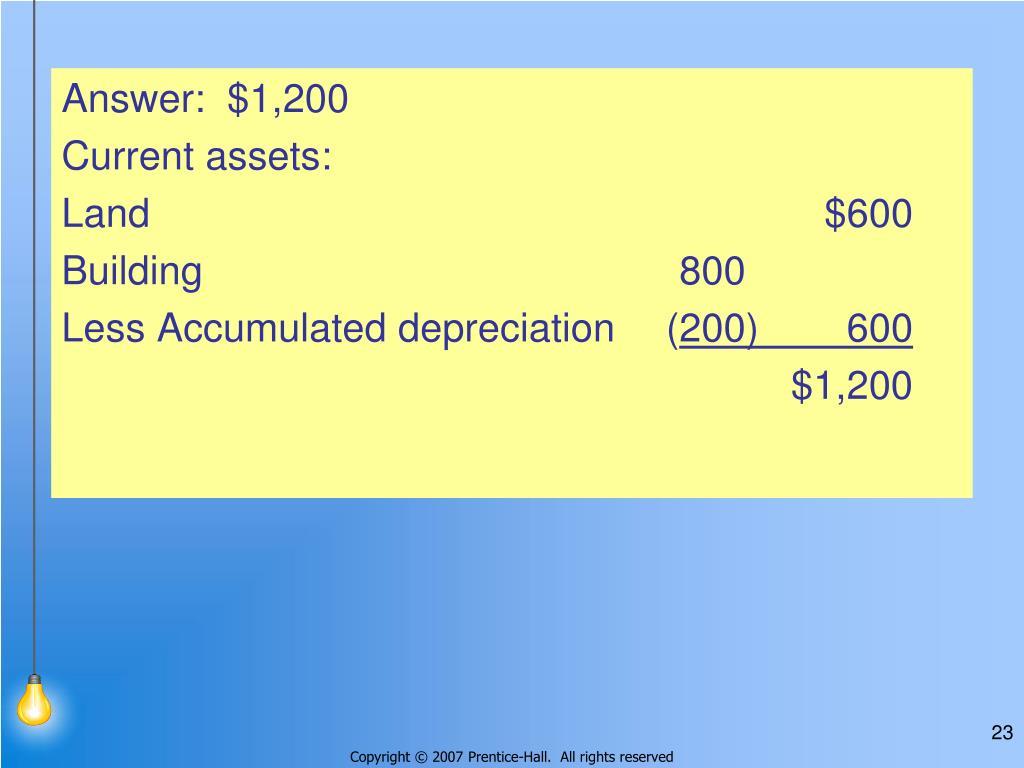 Answer:  $1,200