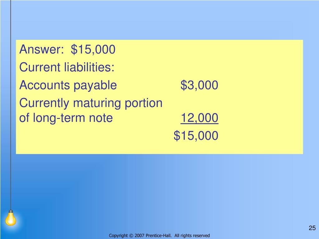 Answer:  $15,000