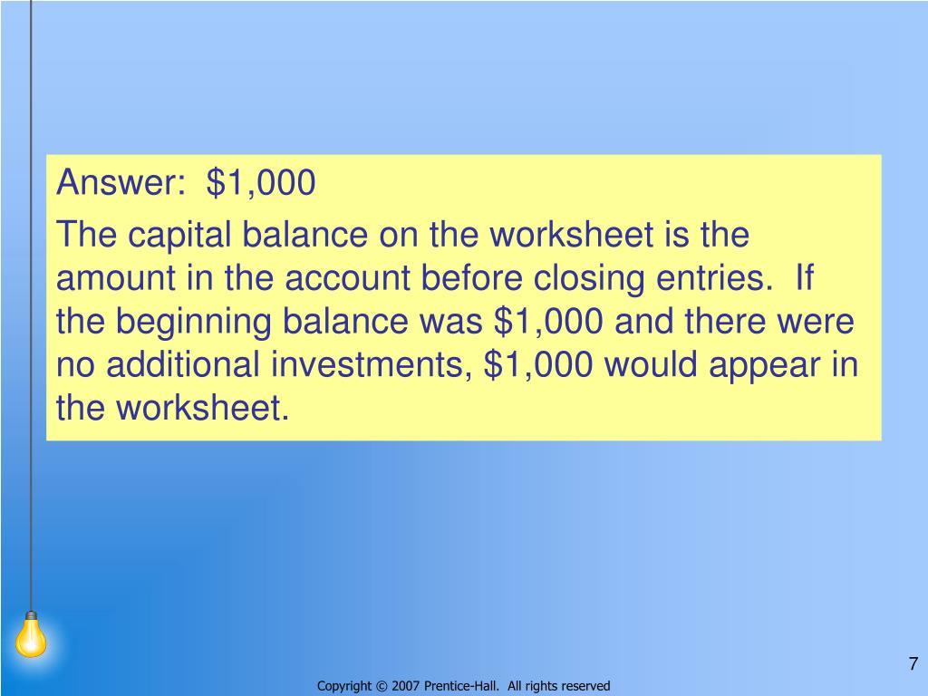 Answer:  $1,000