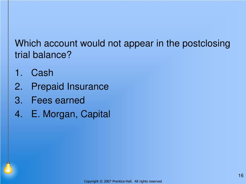 Which account would not appear in the postclosing trial balance?