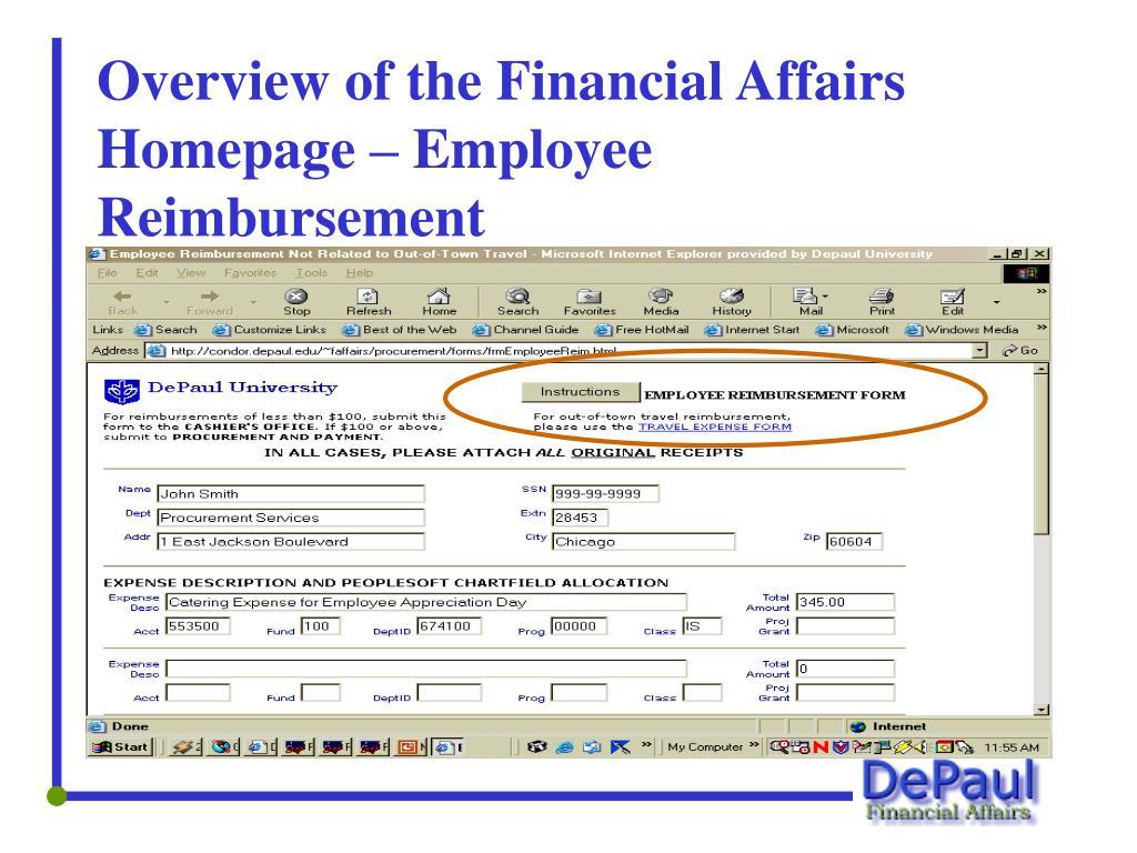 Overview of the Financial Affairs Homepage – Employee Reimbursement