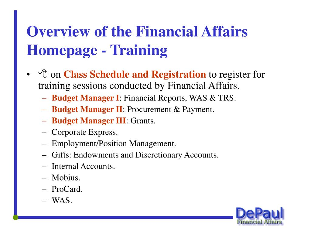 Overview of the Financial Affairs Homepage - Training