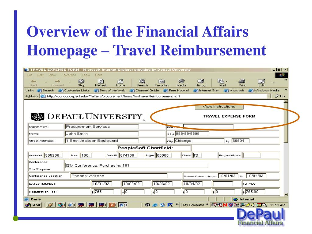 Overview of the Financial Affairs Homepage – Travel Reimbursement