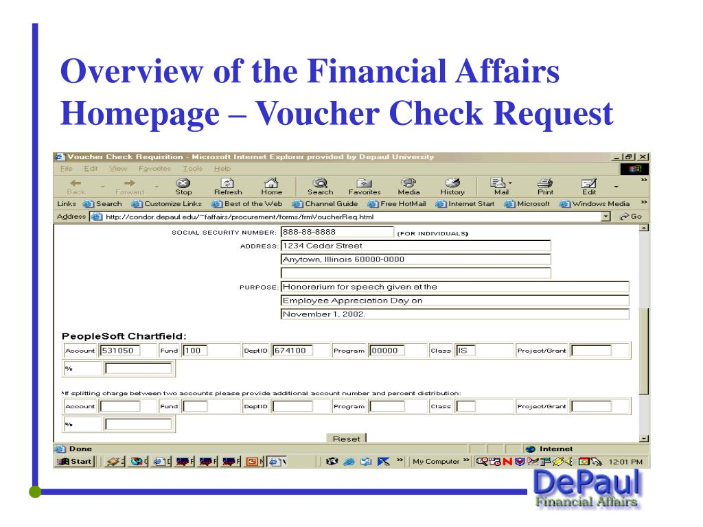 Overview of the Financial Affairs Homepage – Voucher Check Request