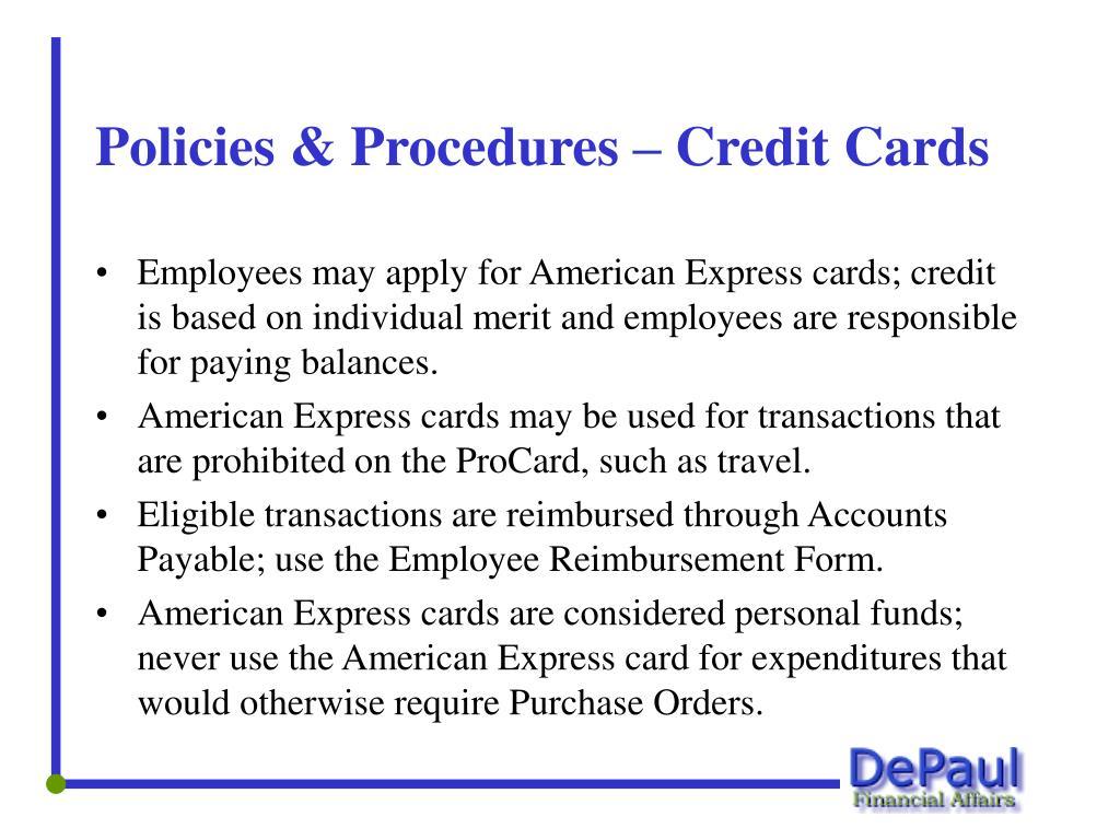 Policies & Procedures – Credit Cards