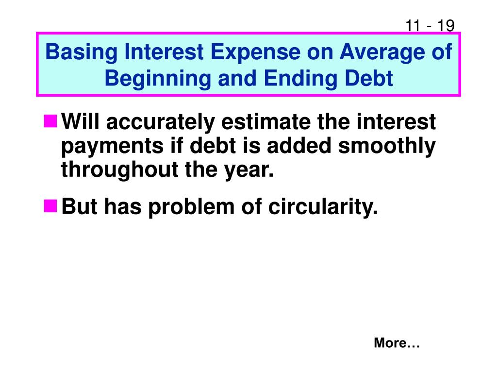 Basing Interest Expense on Average of Beginning and Ending Debt