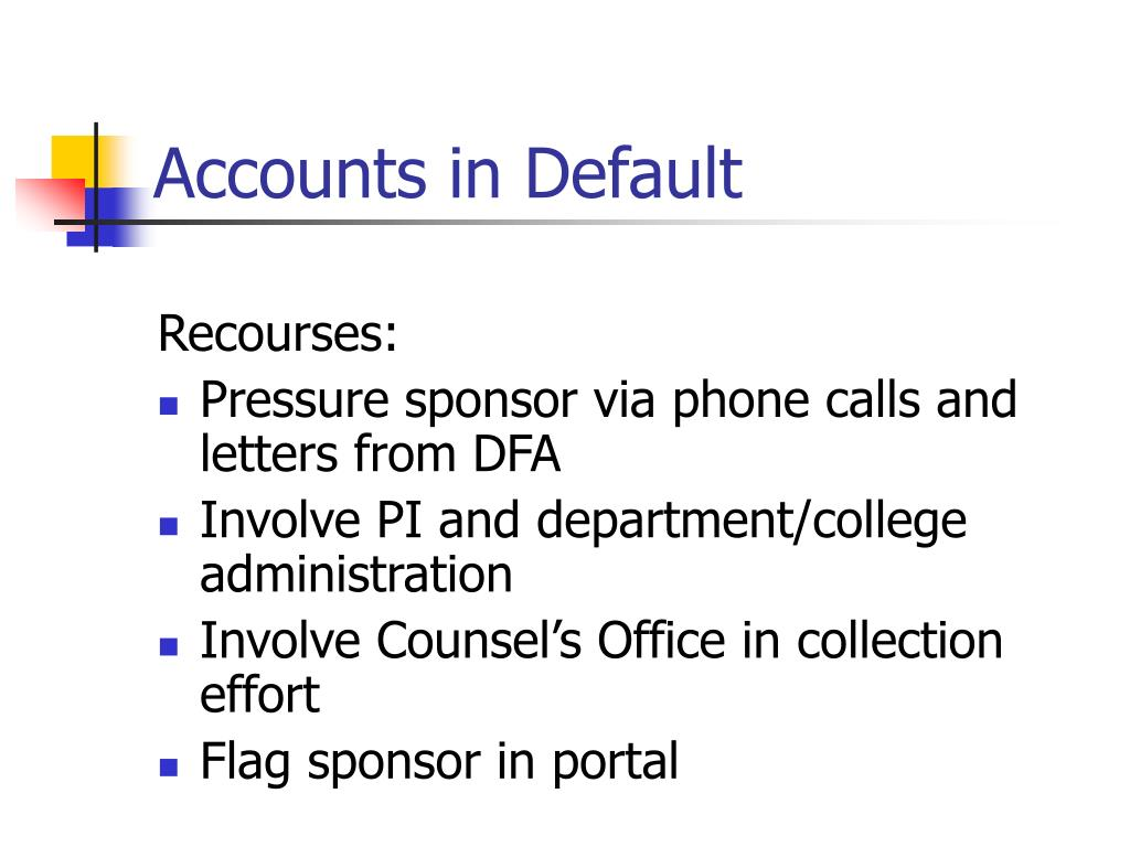 Accounts in Default