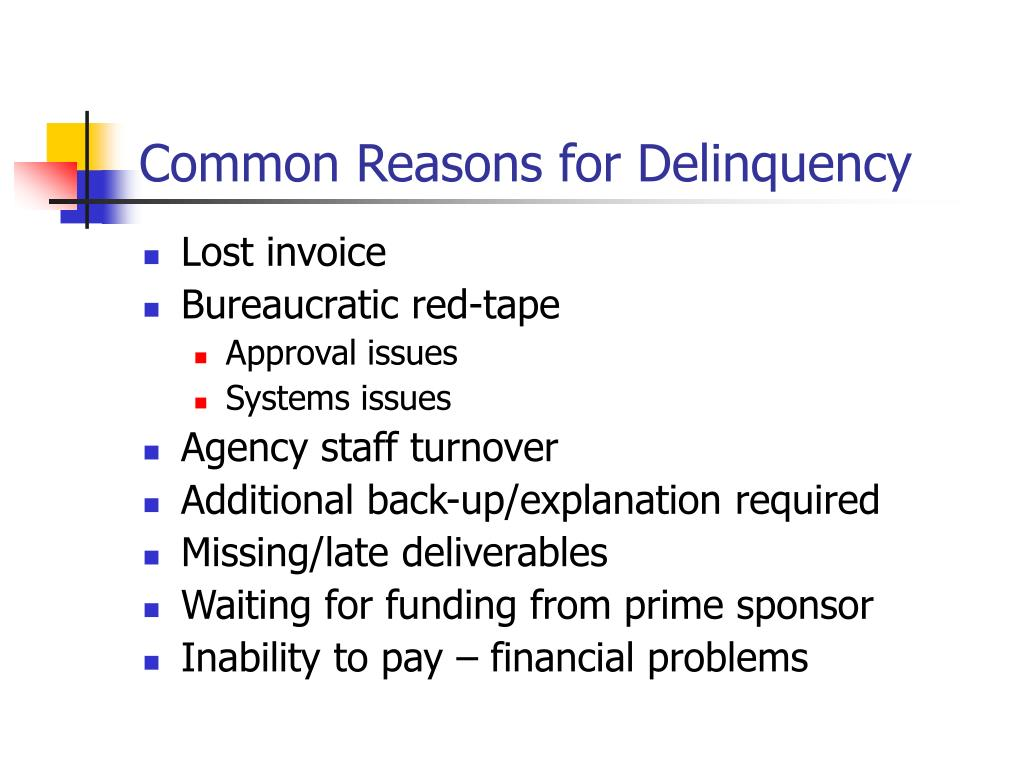 Common Reasons for Delinquency