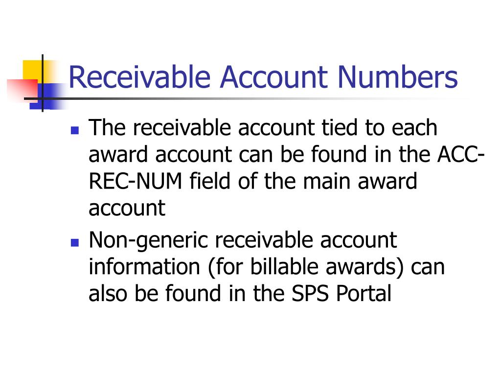 Receivable Account Numbers