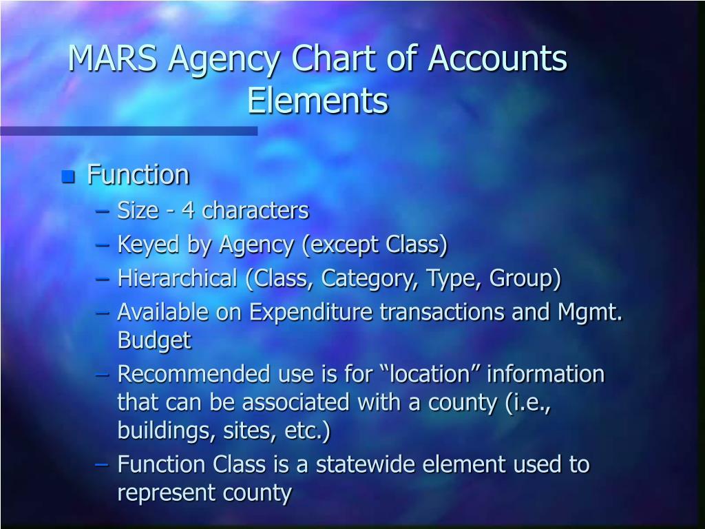 MARS Agency Chart of Accounts Elements