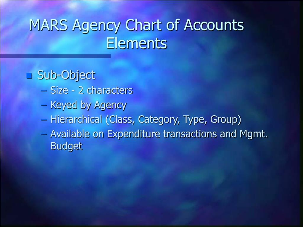 MARS Agency Chart of Accounts Elements