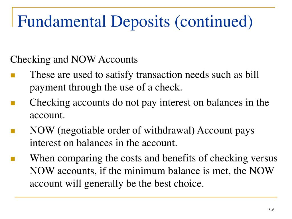 Fundamental Deposits (continued)