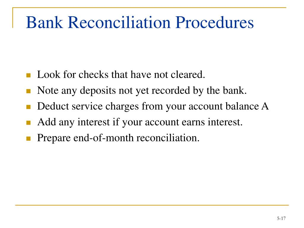 Bank Reconciliation Procedures