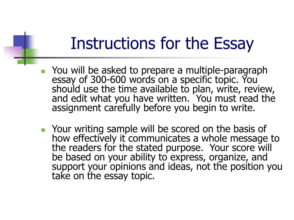 Instructions for writing an essay