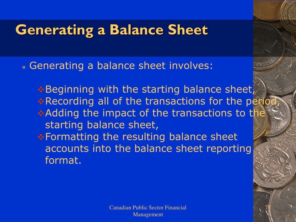 Generating a Balance Sheet