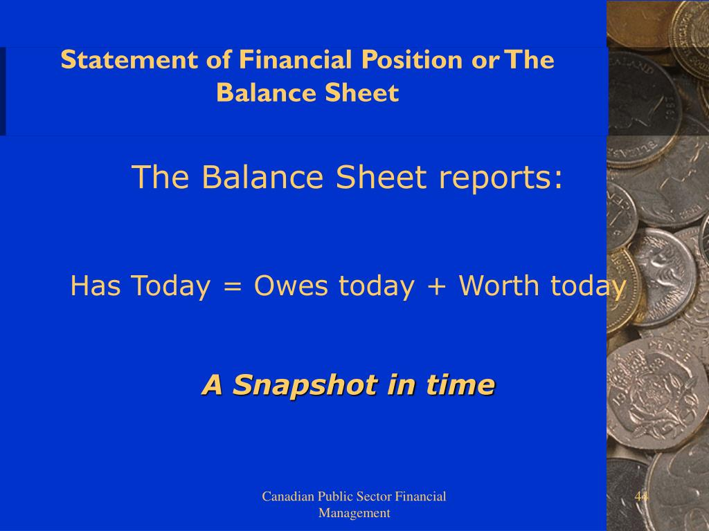 Statement of Financial Position or The Balance Sheet