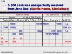 5 50 cash was unexpectedly received from jane doe 5a reinstate 5b collect25