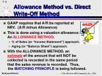 allowance method vs direct write off method