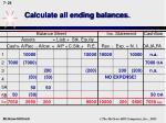 calculate all ending balances