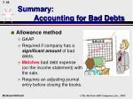 summary accounting for bad debts