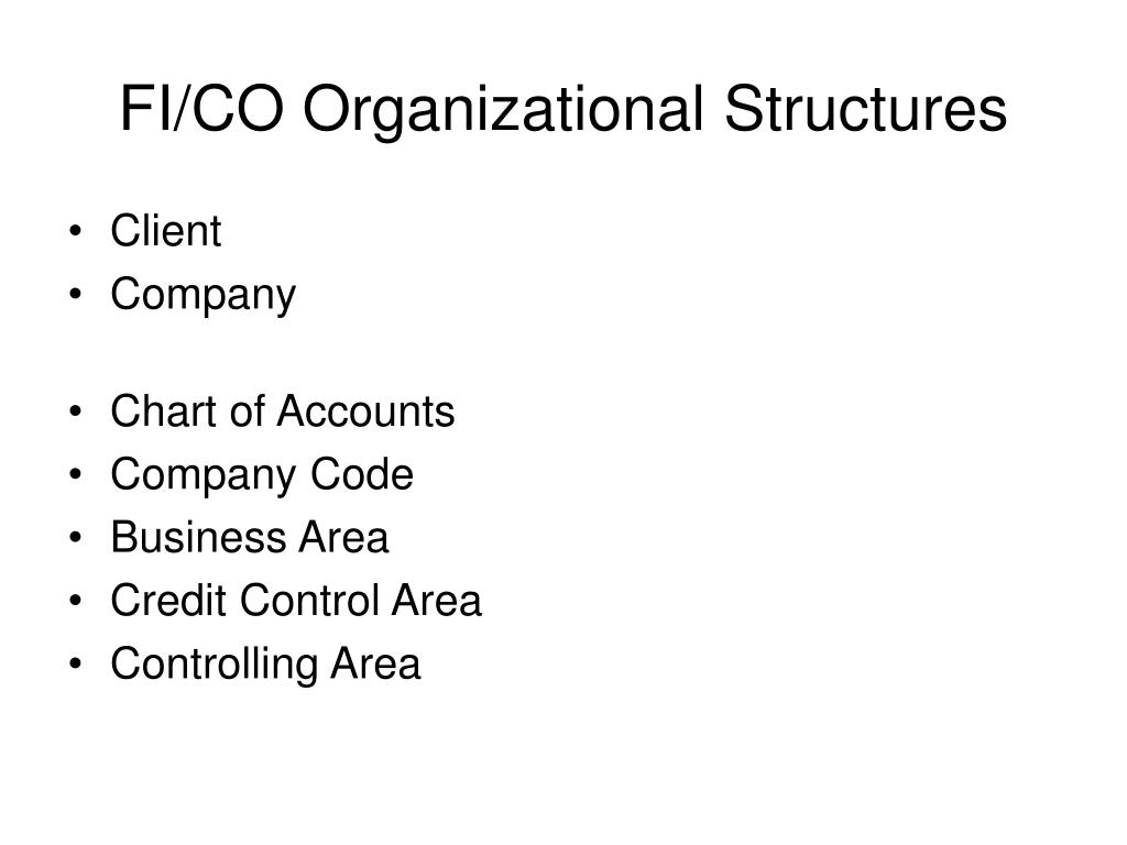 FI/CO Organizational Structures