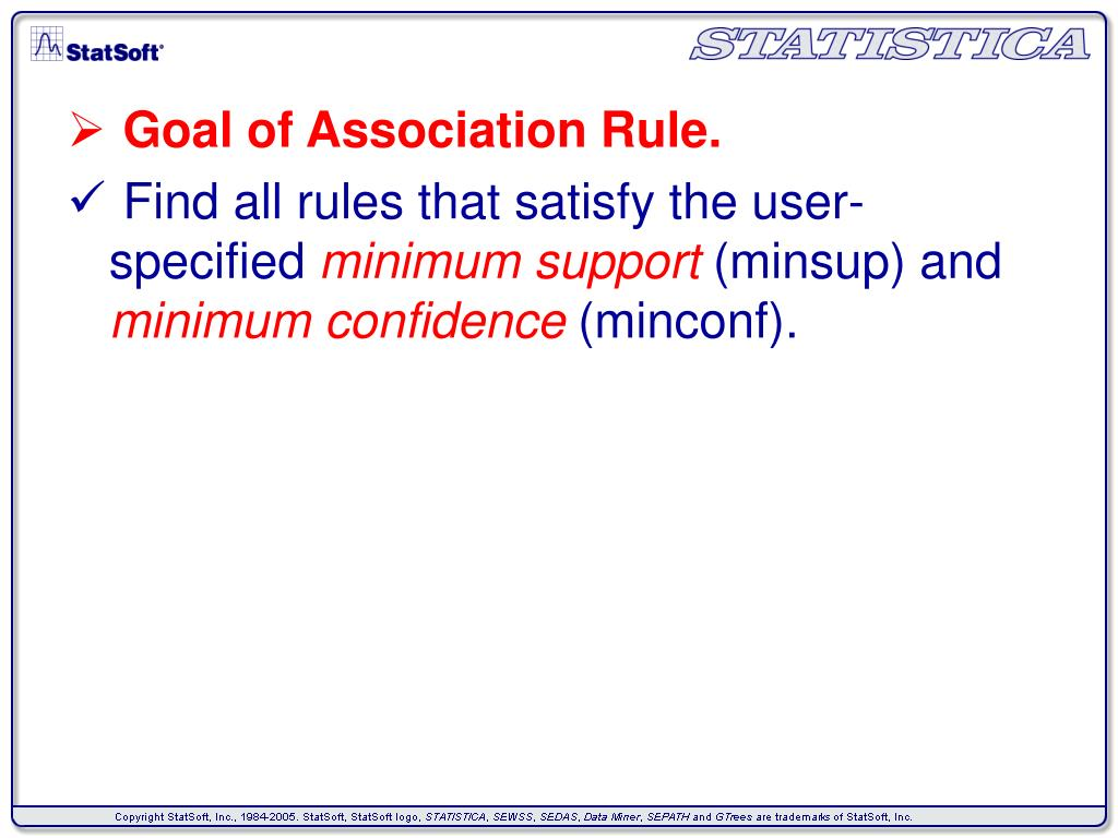 Goal of Association Rule.