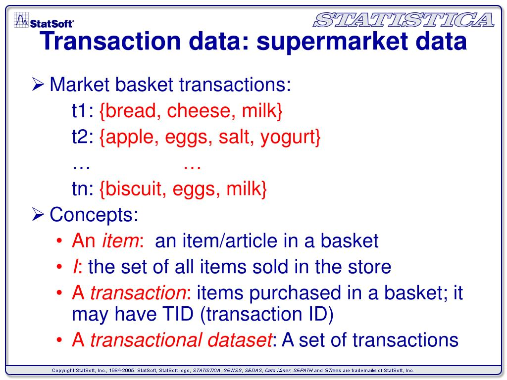 Transaction data: supermarket data