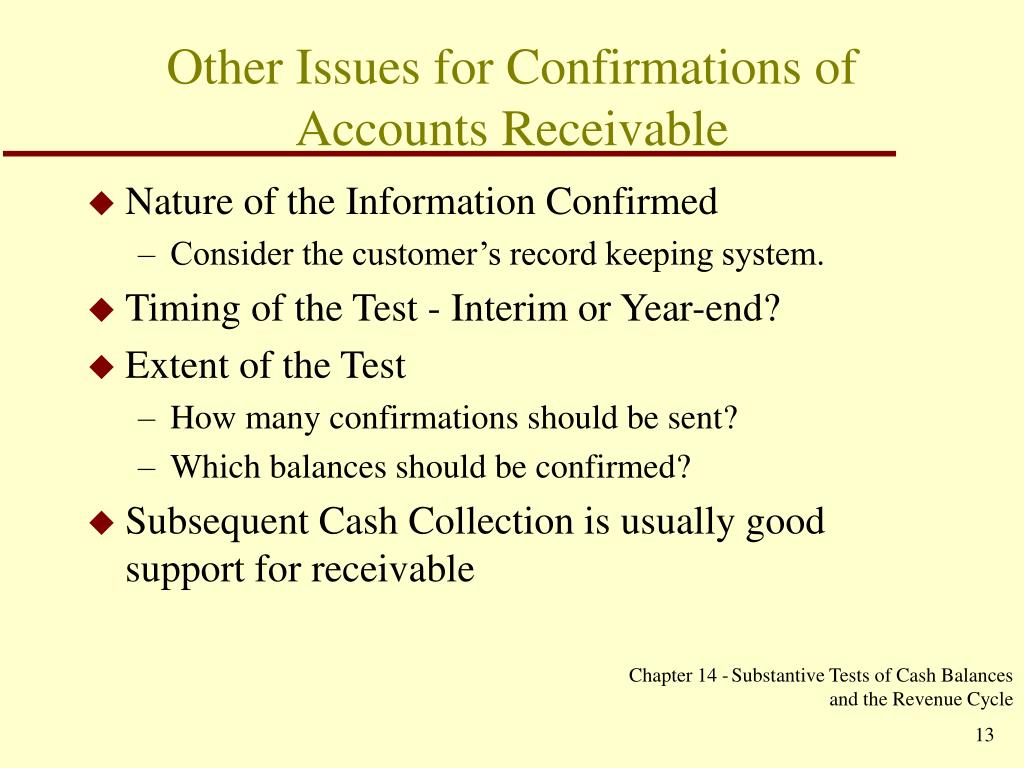 Other Issues for Confirmations of Accounts Receivable