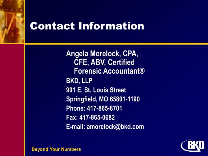 Angela Morelock, CPA, CFE, ABV, Certified Forensic Accountant