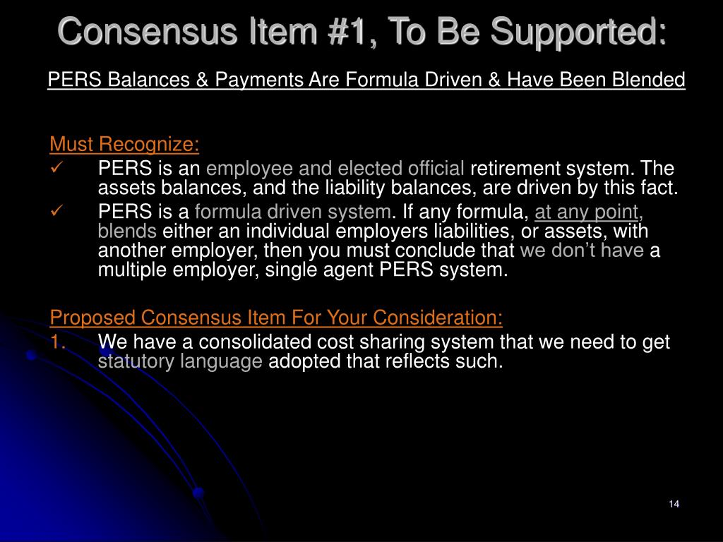 Consensus Item #1, To Be Supported: