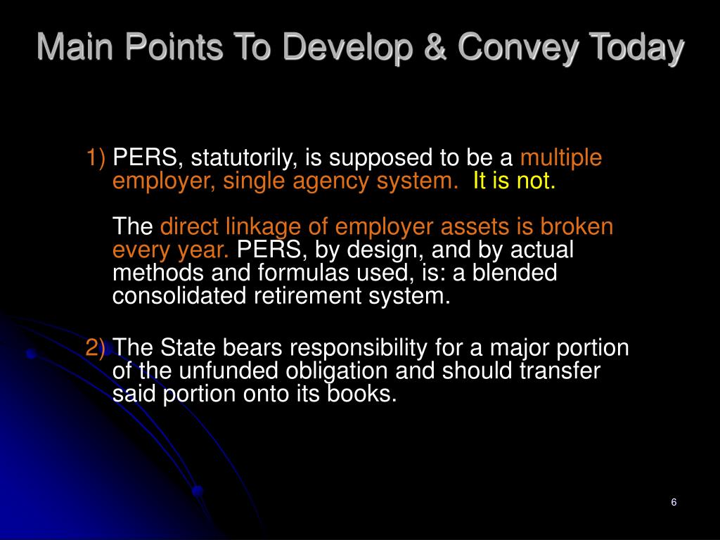 Main Points To Develop & Convey Today