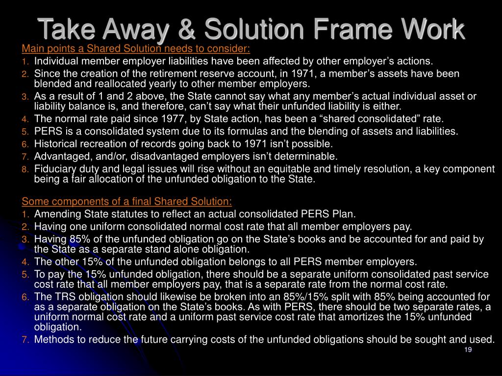 Take Away & Solution Frame Work