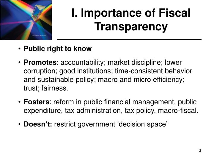 I importance of fiscal transparency