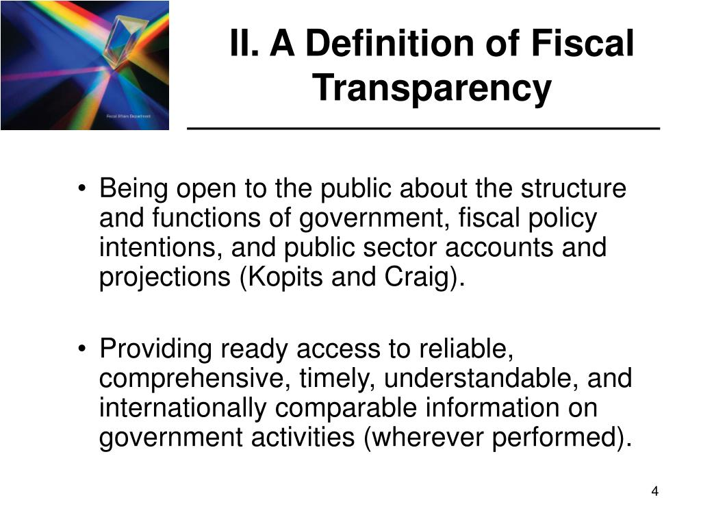 II. A Definition of Fiscal Transparency