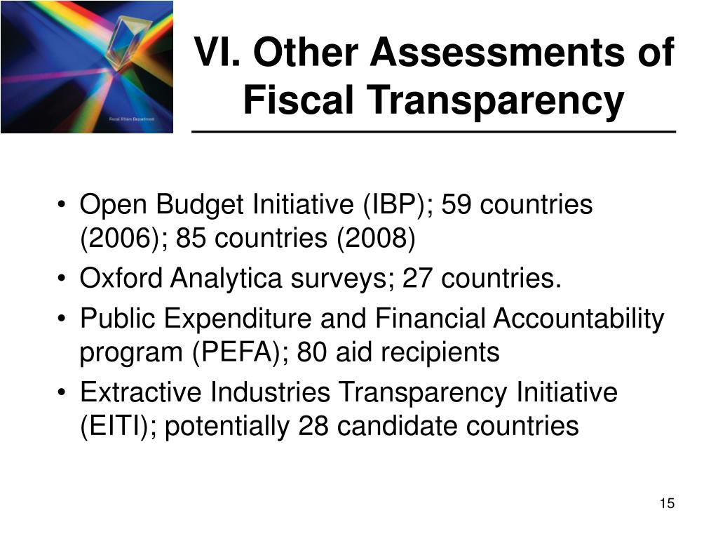 VI. Other Assessments of Fiscal Transparency