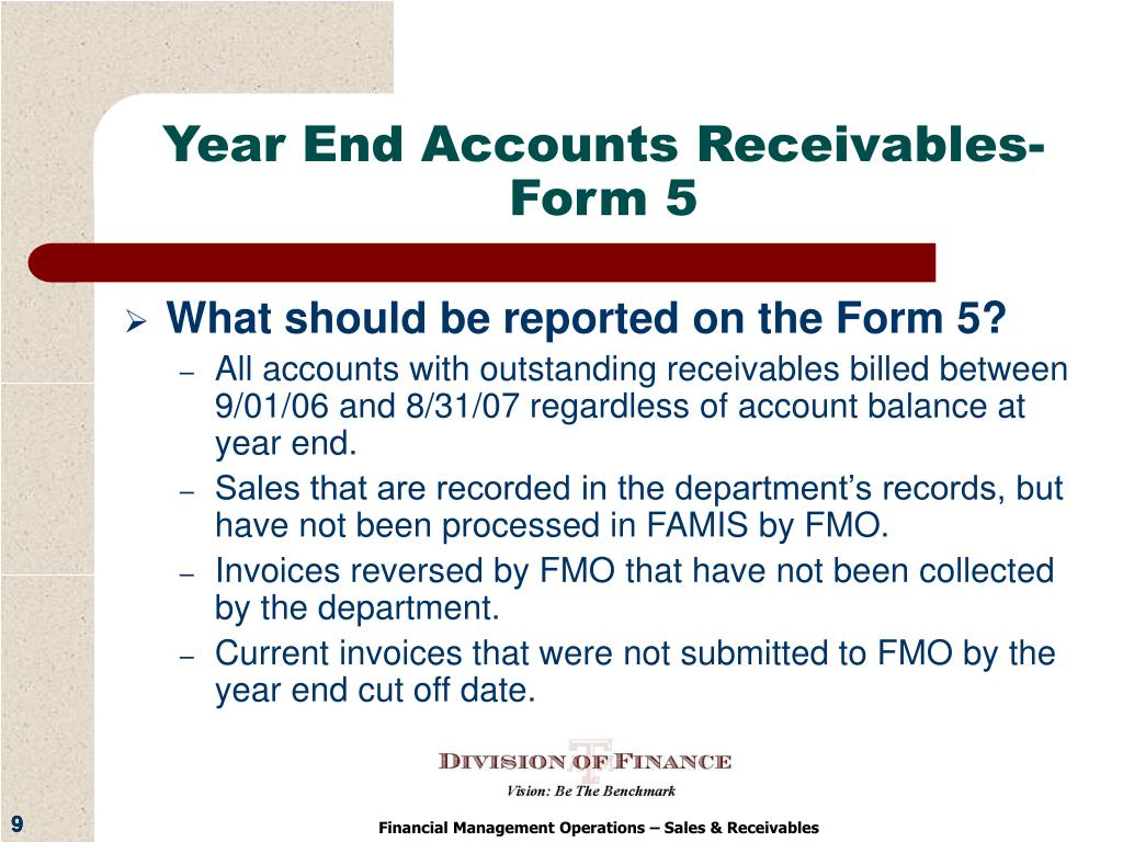 Year End Accounts Receivables-Form 5