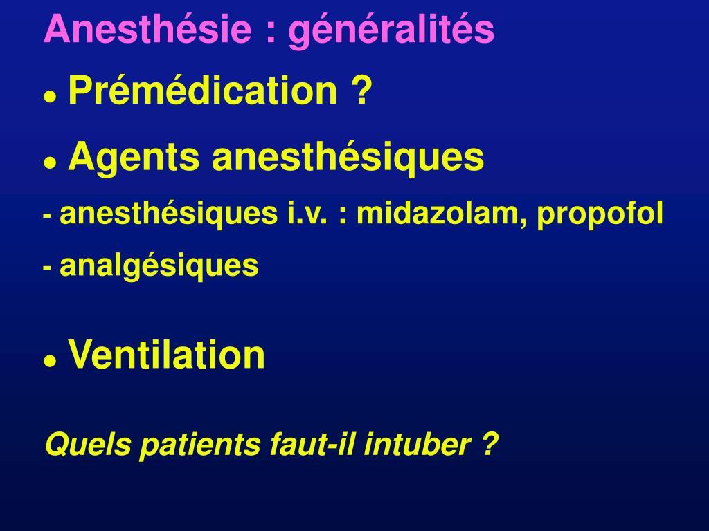 Anesthésie : généralités