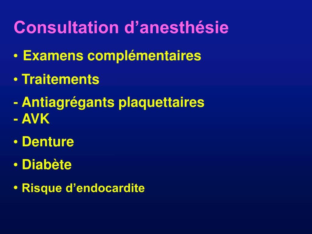 Consultation d'anesthésie